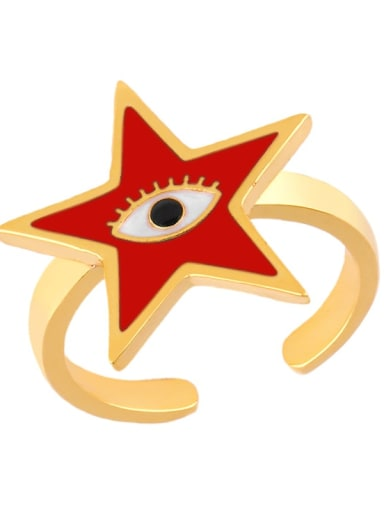 gules Brass Enamel Star Minimalist Band Ring
