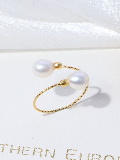 White ring Brass Freshwater Pearl Irregular Minimalist Band Ring