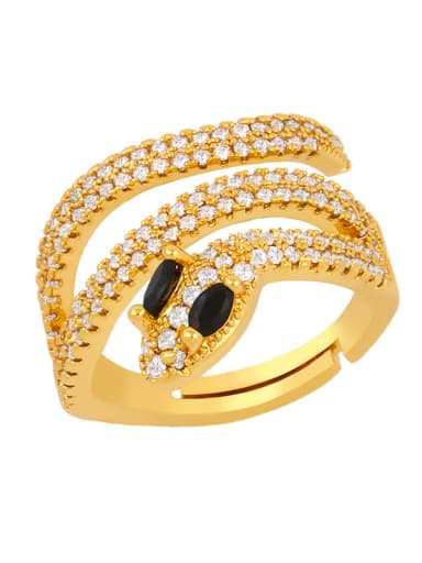 black Brass Cubic Zirconia Snake Luxury Stackable Ring