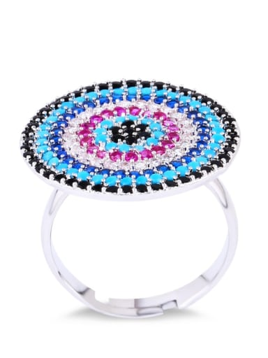 steel Brass Cubic Zirconia Evil Eye Luxury Cocktail Ring