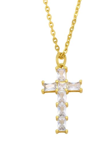 B Brass Cubic Zirconia Cross Ethnic Regligious Necklace