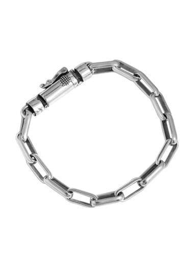 Retro silver [18cm] 925 Sterling Silver Geometric Chain Vintage Link Bracelet