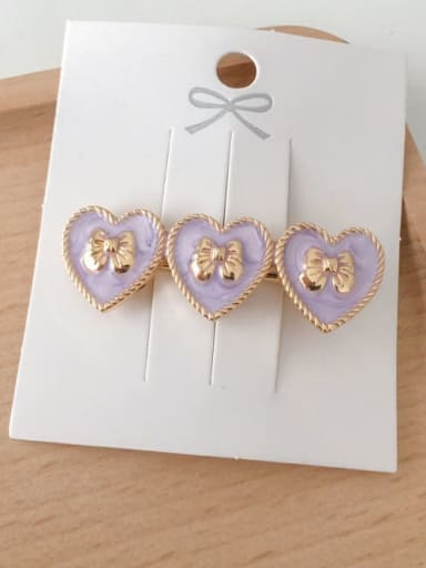 Heart shaped purple Alloy Enamel Minimalist Heart  Round Bow-Knot Hair Barrette