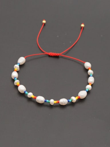 Stainless steel Freshwater Pearl Multi Color Oval Minimalist Woven Bracelet