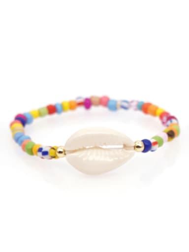 QT B200022B Stainless steel  Glass Bead Multi Color Smiley Bohemia Stretch Bracelet