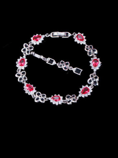 red Brass Cubic Zirconia Flower Luxury Bracelet