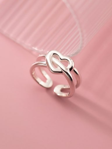 925 Sterling Silver Hollow Heart Minimalist Stackable Ring