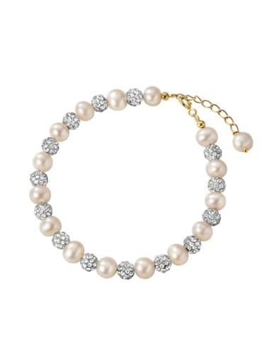 925 Sterling Silver Imitation Pearl Round Minimalist Beaded Bracelet