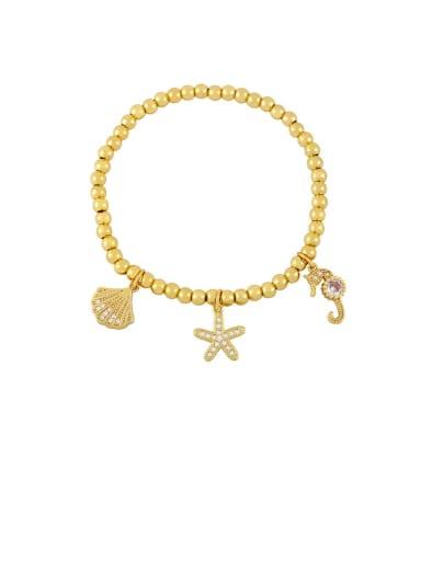Brass Cubic Zirconia Ball Vintage Beaded Bracelet