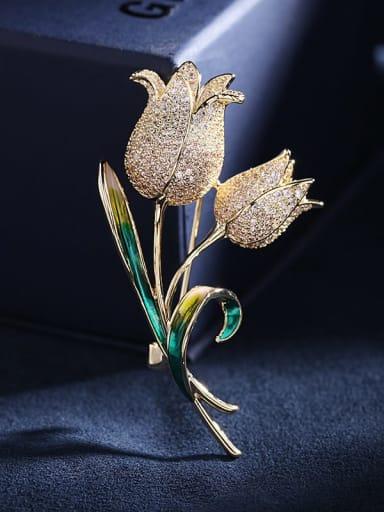 Golden +white Brass Cubic Zirconia Flower Statement Brooch