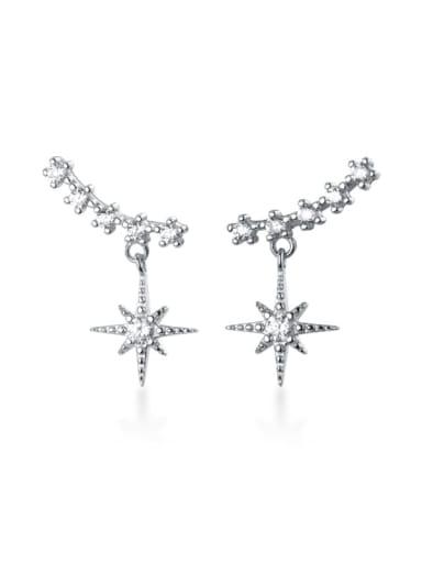 925 Sterling Silver Cubic Zirconia  Star Classic Ear Cuff Earring