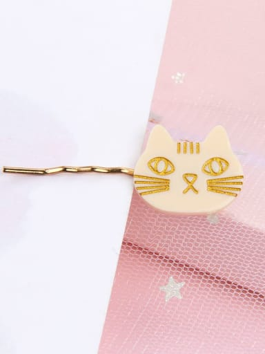 white Alloy Cellulose Acetate Cute Cat  Hair Pin