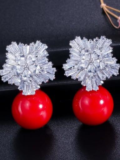 Red pearl white gold ear needle Brass Cubic Zirconia Flower Luxury Drop Earring