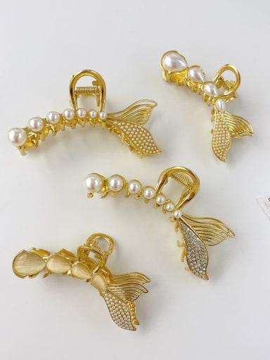 Alloy Imitation Pearl Minimalist Fish  Tail Jaw Hair Claw