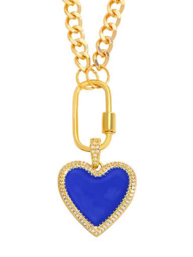 blue Brass Enamel Heart Minimalist Necklace