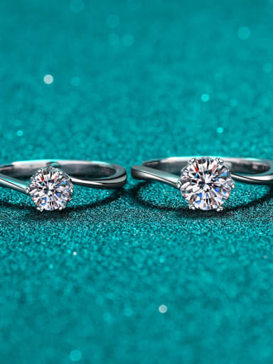 0.5CT Moissanite Sterling Silver Moissanite Flower Dainty Solitaire Engagement Rings