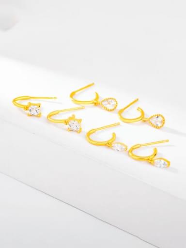 925 Sterling Silver Cubic Zirconia Geometric Minimalist Stud Earring
