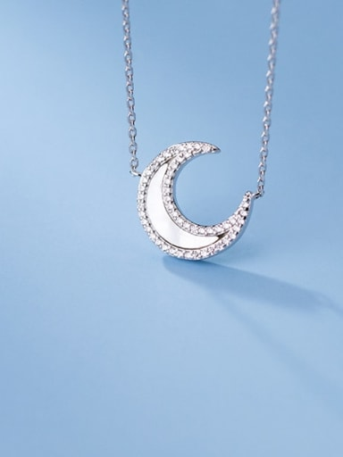 925 Sterling Silver Shell Moon Minimalist Necklace