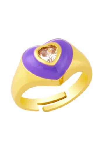 violet Brass Enamel Cubic Zirconia Heart Hip Hop Band Ring