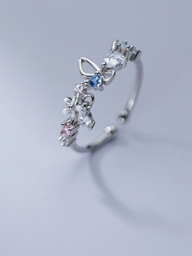925 Sterling Silver Cubic Zirconia Butterfly Cute Band Ring