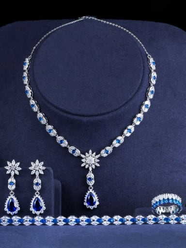 Blue Size 6 four piece set Copper Cubic Zirconia Luxury Water Drop Earring and Necklace Set