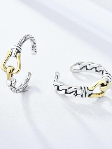 Brass hollow chain  Irregular Vintage Band Ring