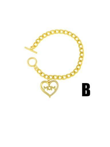 B Brass Cubic Zirconia Heart Vintage Link Bracelet