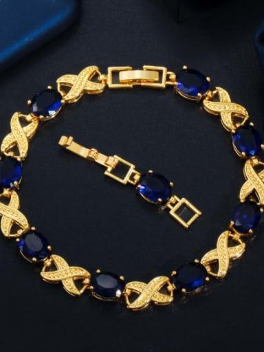 blue Copper Cubic Zirconia Geometric Luxury Bracelet