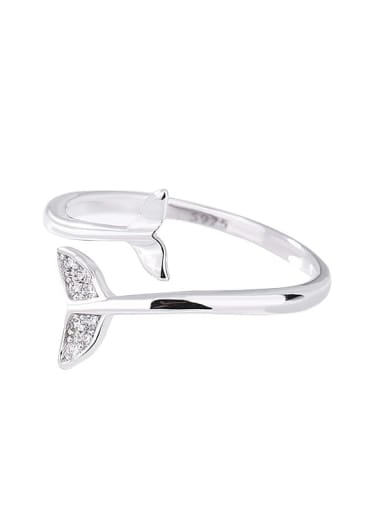 Platinum 925 Sterling Silver Cubic Zirconia Fish Minimalist Band Ring