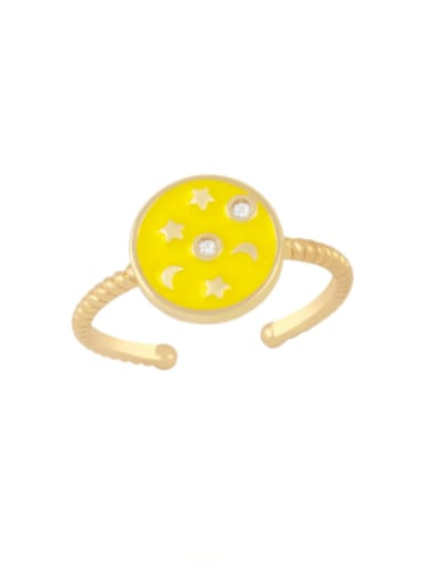 yellow Brass Enamel Star Vintage Band Ring
