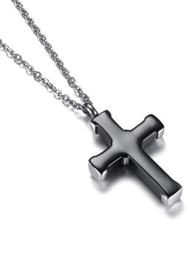 Titanium Steel Cross Vintage  pendant  bead Chain  necklace