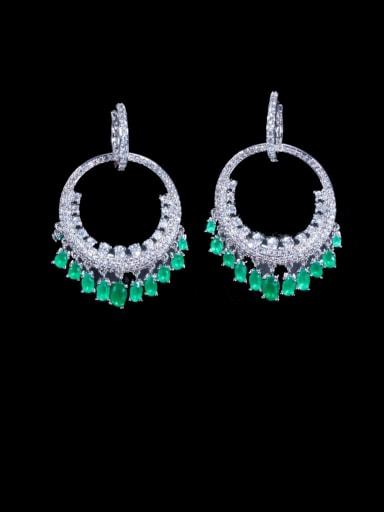 green Brass Cubic Zirconia Irregular Luxury Cluster Earring