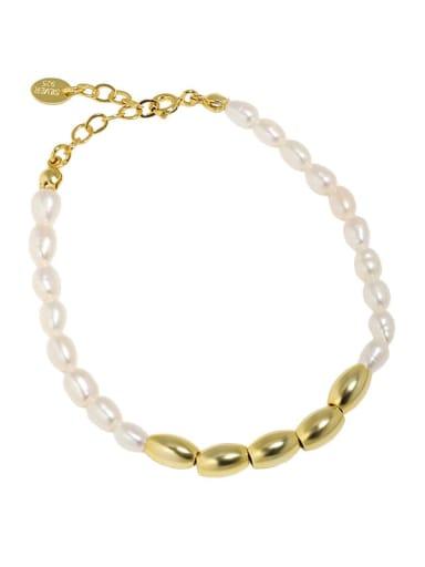 18K Gold 925 Sterling Silver Freshwater Pearl Water Drop Vintage Beaded Bracelet