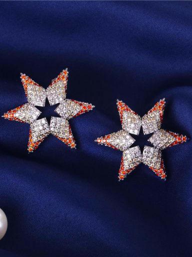 E0932 Brass Cubic Zirconia Star Dainty Cluster Earring