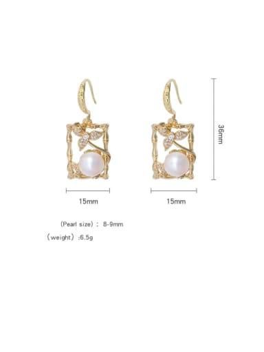 Brass Freshwater Pearl Geometric Vintage Hook Earring