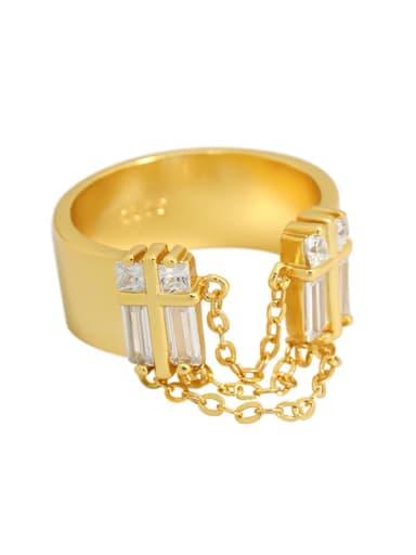 Gold [12 Adjustable] 925 Sterling Silver Cubic Zirconia Irregular Vintage Band Ring