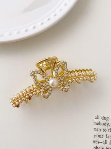 Arc Butterfly Pearl 7cm*3cm Alloy Imitation Pearl Minimalist Geometric  Jaw Hair Claw