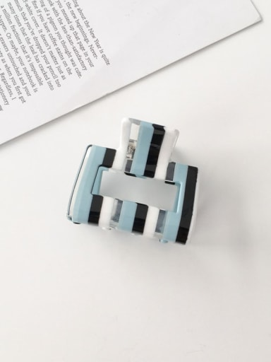 F118 Cellulose Acetate Minimalist Blue striped hollow Alloy Jaw Hair Claw
