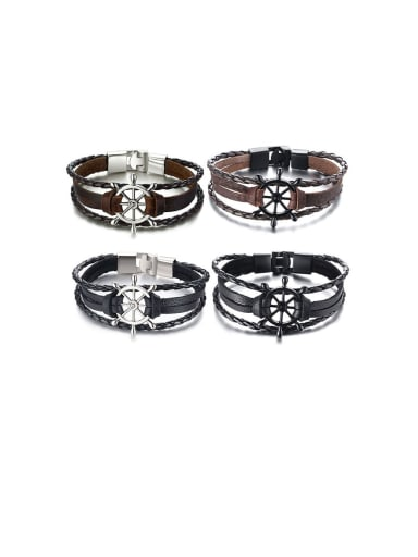 Stainless Steel With White Gold Plated Simplistic Hollow Rudder  Bracelets