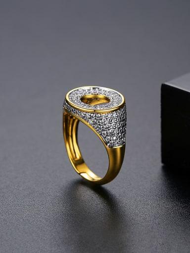 White zirconium 18K Brass Cubic Zirconia Geometric Minimalist Band Ring