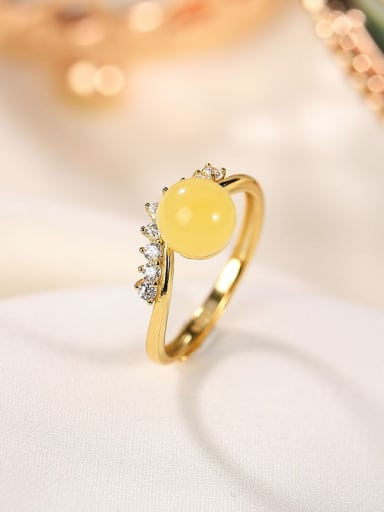 925 Sterling Silver Amber Crown Minimalist Band Ring