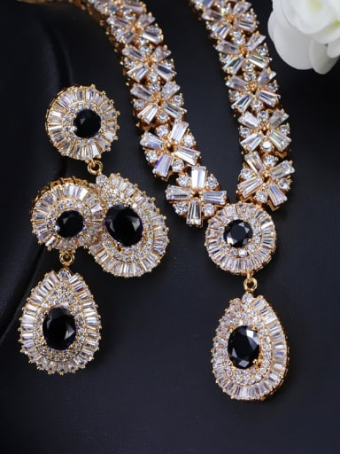 Champagne Gold Black zirconium Brass Cubic Zirconia Luxury Geometric Earring and Necklace Set