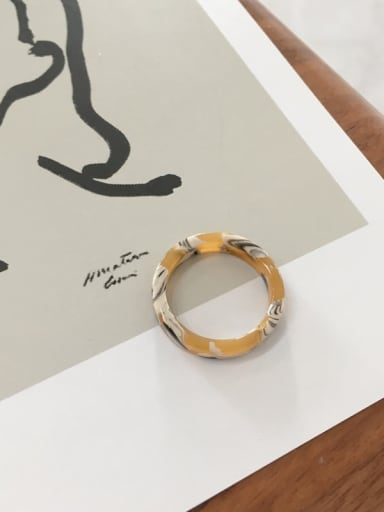pattern yellow Cellulose Acetate Geometric Minimalist  men and women Melange ring