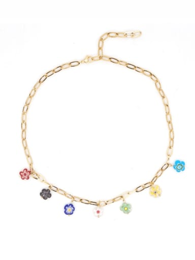 B N200005A Stainless steel Glass Stone Multi Color Round Bohemia Necklace