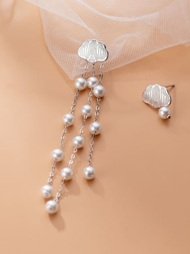 925 Sterling Silver Imitation Pearl Asymmetry Tassel Bohemia Threader Earring