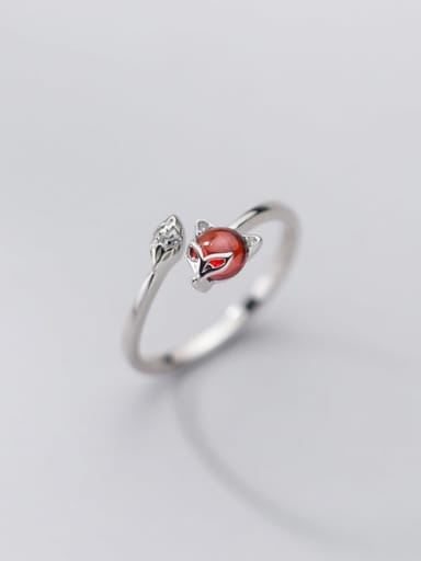Silver 925 Sterling Silver Garnet Fox Cute Band Ring