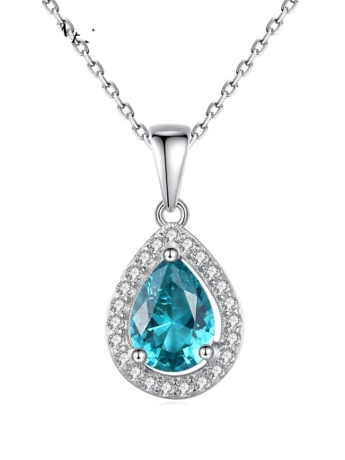 925 Sterling Silver Cubic Zirconia Water Drop Dainty Necklace