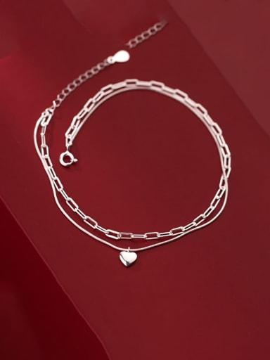 925 Sterling Silver Heart Minimalist Anklet