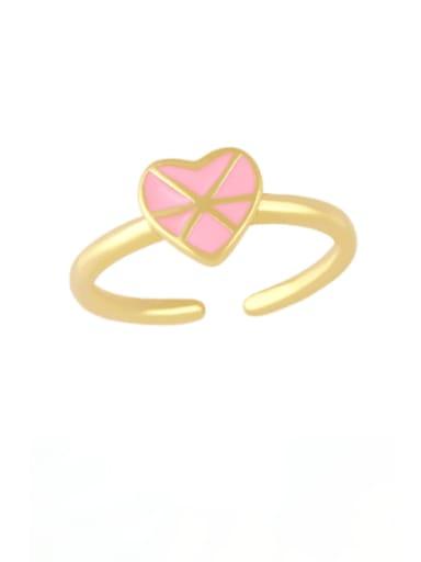 Pink Brass Enamel Heart Vintage Band Ring