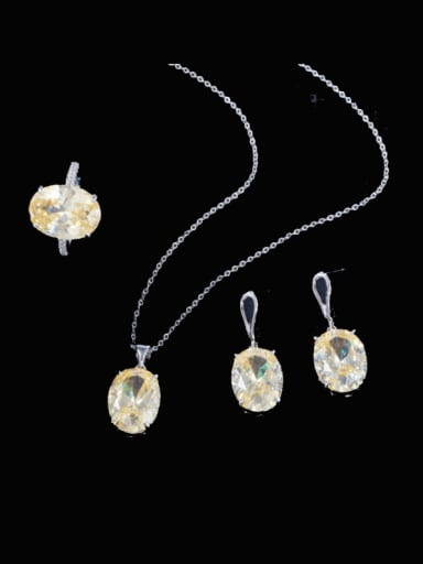 Brass Cubic Zirconia Trend Geometric Earring Ring and Necklace Set